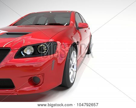Sports car front view. The image of a sports red car on a white background.