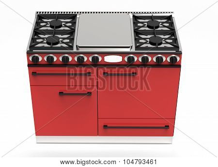 Modern Red Gas Stove With Hotplates And Ovens
