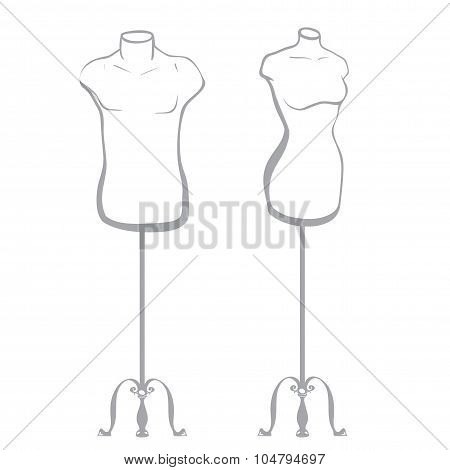 Male And Female Mannequin Made In Thumbnail Style