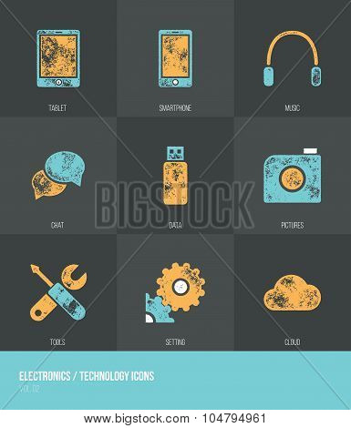 Electronics / Technology Vecotor Grunge Icons Vol.2