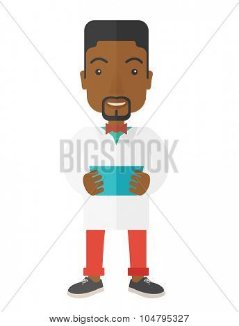 A happy african-american doctor holding a radiograph vector flat design illustration isolated on white background. Vertical poster layout.