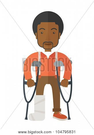 An injured African American man on crutches standing vector flat design illustration isolated on white background. Vertical poster layout.