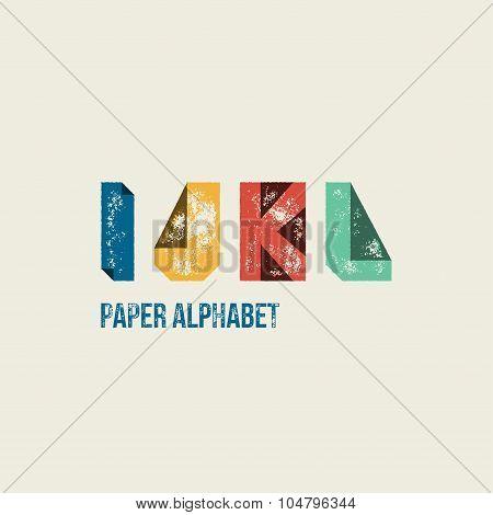 I J K L - Grunge Retro Paper Type Alphabet