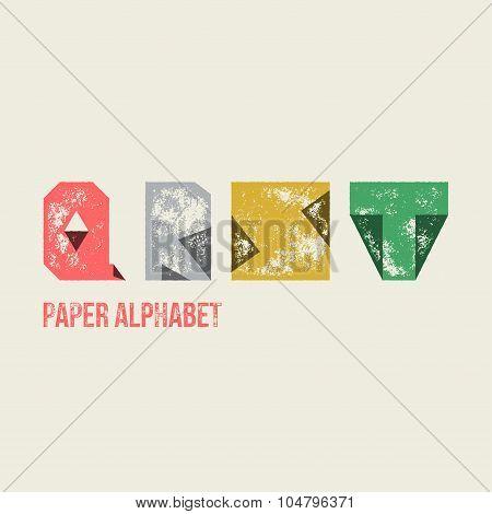Q R S T - Grunge Retro Paper Type Alphabet