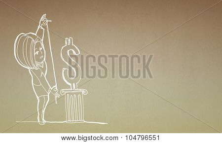Caricature of woman measuring dollar sign on golden background