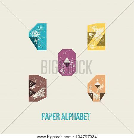 0 1 2 3 4 - Grunge Retro Paper Type Alphabet