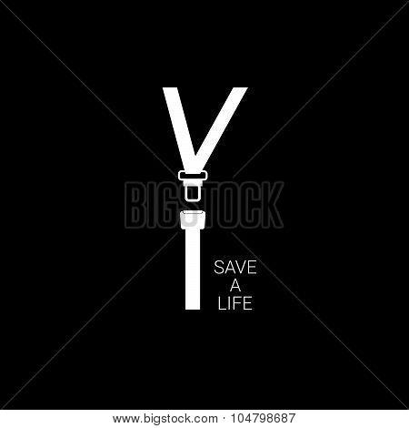 Seat Belt Save A Life White Vector
