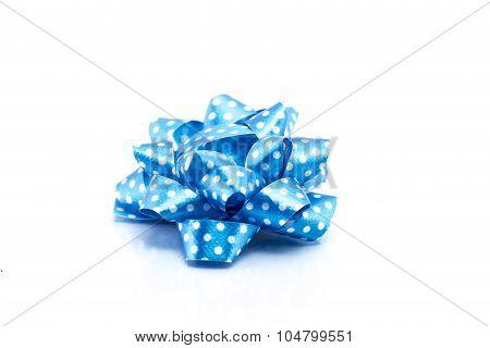 Blue Satin Gift Bow. Ribbon. Isolated On White