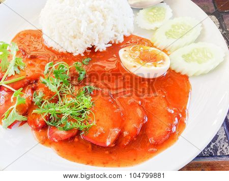 Barbecued Red Pork In Sauce With Rice