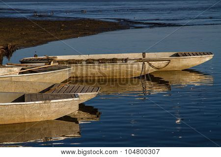 Fishing Boats At Rozmberk Pond-czech Republic