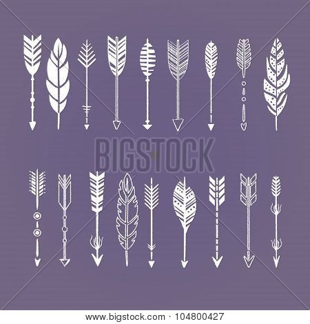 Set of Arrows White in Hand-Drawn Design, Vector Illustration