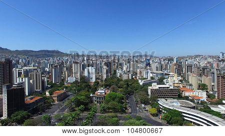 Aerial view from Praça da Liberdade to Belo Horizonte skyline, Minas Gerais, Brazil.