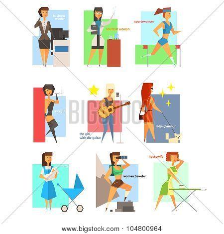 Women Lifestyle in Flat Style Vector Illustration Set