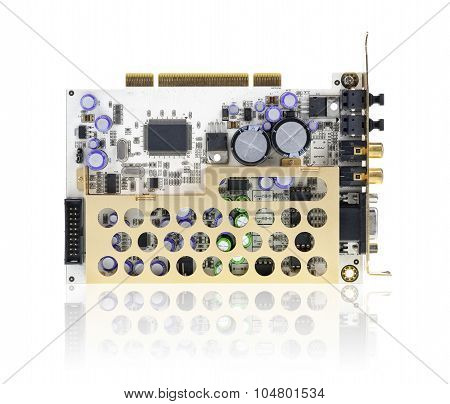Pci Sound Card Isolated On White.
