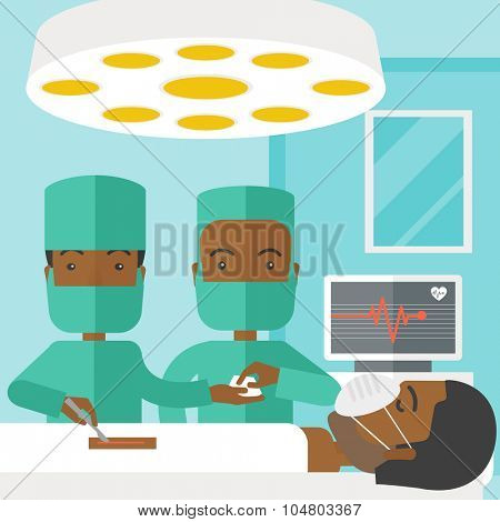 Two African American surgeons working and looking over a lying patient in an operating room vector flat design illustration. Square layout.
