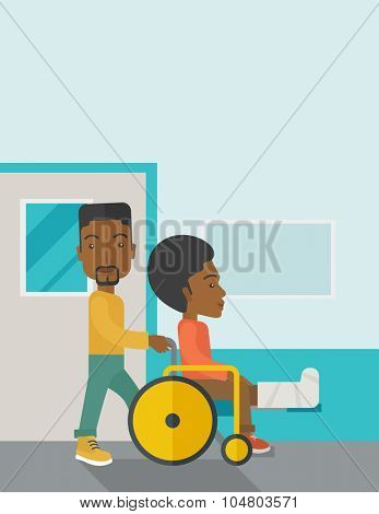 An African American man carrying a patient with broken leg in the wheelchair vector flat design illustration. Vertical poster layout with a text space.