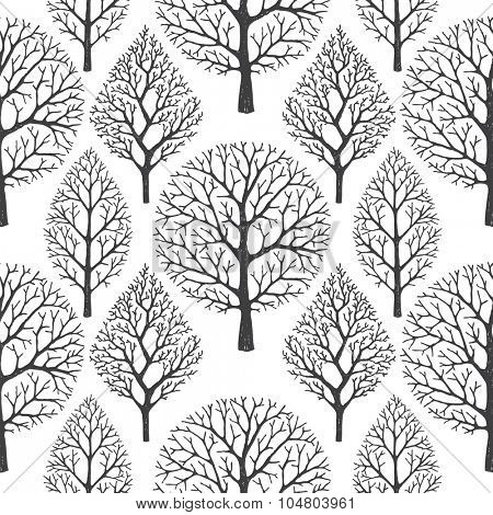 Seamless vector pattern with silhouettes of trees on white background.