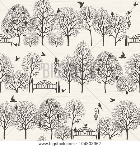 Landscape park with silhouette of trees, birds, benches and lanterns, seamless vector background in vintage style.
