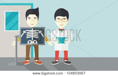 An Asian patient with x-ray screen showing his skeleton and doctor holding a radiograph vector flat design illustration. Horizontal layout with a text space.