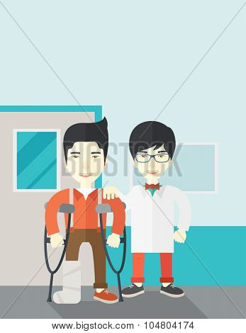 An injured Asian man on crutches standing with a doctor vector flat design illustration. Vertical layout with a text space.