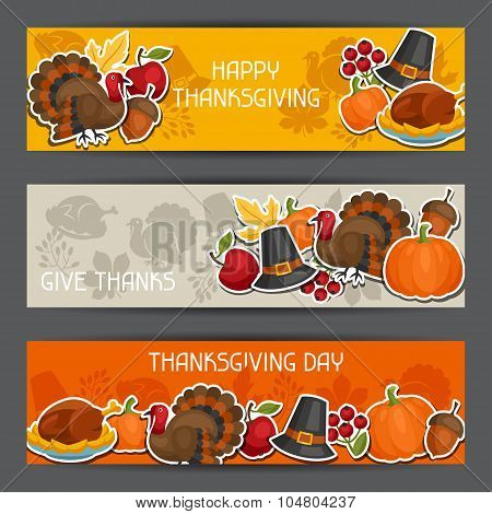 Happy Thanksgiving Day banners design with holiday sticker objects