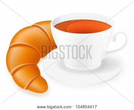 Porcelain Cup And Croissant Vector Illustration