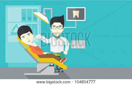 An Asian dentist man examines a patient teeth in the clinic vector flat design illustration. Horizontal layout with a text space.