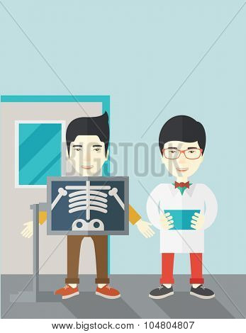 An Asian patient with x-ray screen showing his skeleton and doctor holding a radiograph vector flat design illustration. Vertical layout with a text space.