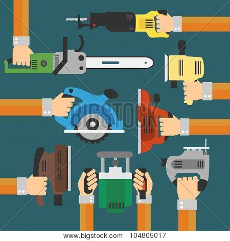 Builders Tools Modern flat background with hand