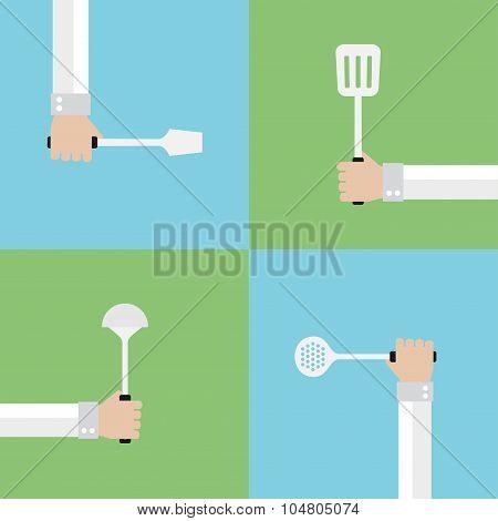 Kitchen tools flat set