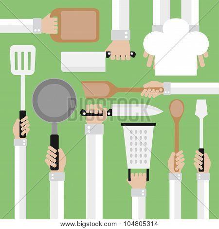 Flat design concept,cooking tools