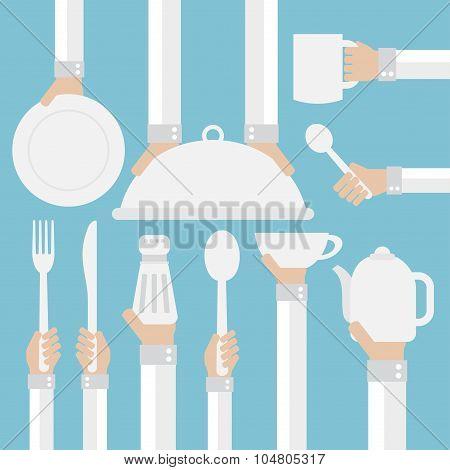 Flat design concept,cookware