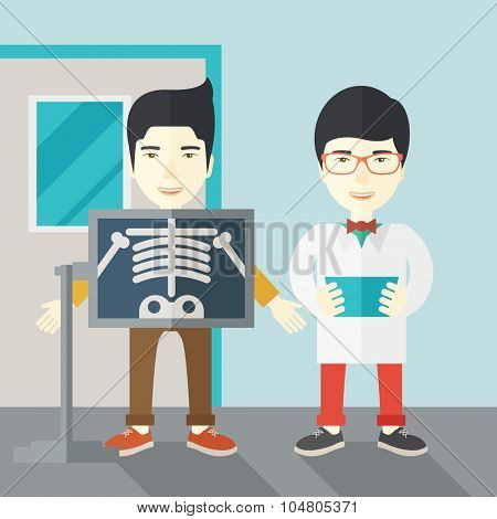 An Asian patient with x-ray screen showing his skeleton and doctor holding a radiograph vector flat design illustration. Square layout.