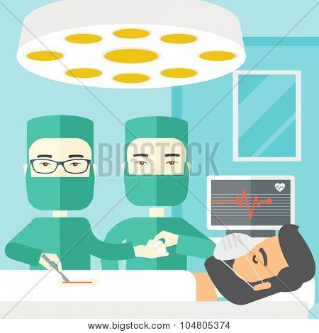 Two Asian surgeons working and looking over a lying patient in an operating room vector flat design illustration. Square layout.