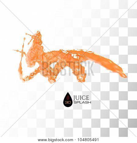 Orange 3D juice splash isolated on white