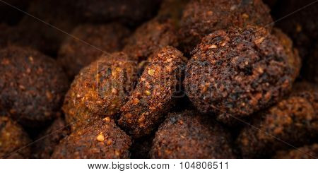 Group of falafel close up deep fried cooked