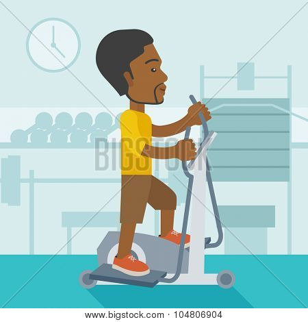 An African American man exercising on a elliptical machine in the gym vector flat design illustration. Square layout.
