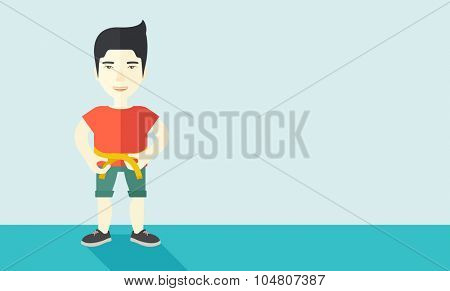 A happy Asian man measures his waist vector flat design illustration. Sport concept. Horizontal layout with a text space.