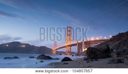 Golden-Gate Bridge at Dusk. Marshall's Beach, San Francisco