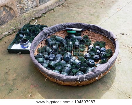 Basket of jade cups