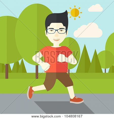 An asian man in glasses jogging in the park vector flat design illustration. Lifestyle concept. Square layout.