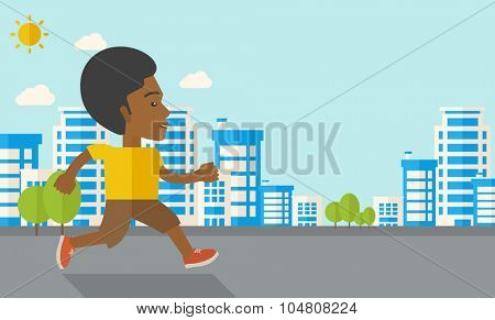 An african-american man jogging on street vector flat design illustration. Lifestyle concept. Horizontal layout with a text space.