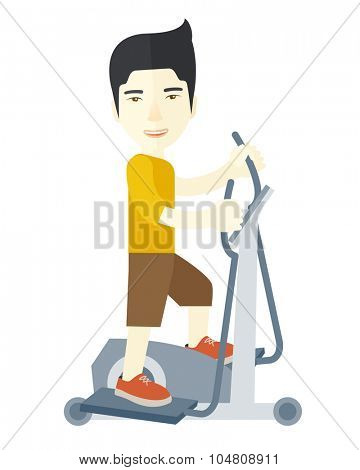An asian man exercising on a elliptical machine vector flat design illustration isolated on white background. Vertical layout.