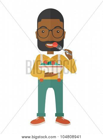 A smiling african-american man with beard in glasses eating salad vector flat design illustration isolated on white background. Healthy, fitness concept. Vertical layout.