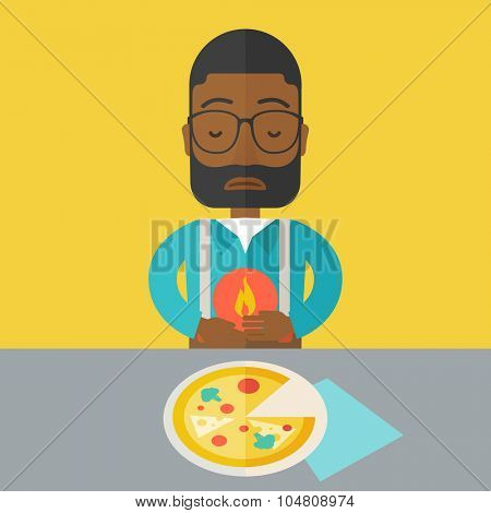 A sick african-american man with heartburn due to pizza holding hands on his stomach vector flat design illustration. Square layout.