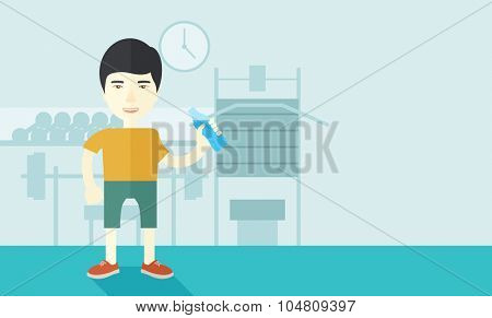 An asian gentleman drinking water in the gym vector flat design illustration. Healthy, fitness concept. Horizontal layout with a text space for a social media post.
