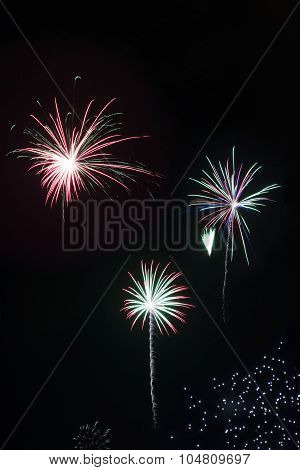 Bright Colorful Fireworks Mortars