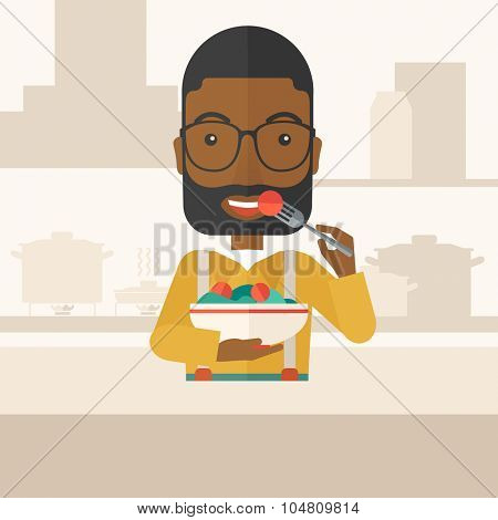 A smiling african-american man with beard in glasses eating salad vector flat design illustration. Healthy concept. Square layout.