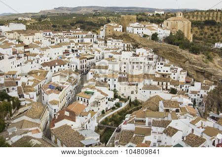 Setenil de las Bodegas - one of the white villages of Andalusia, top view, landscape