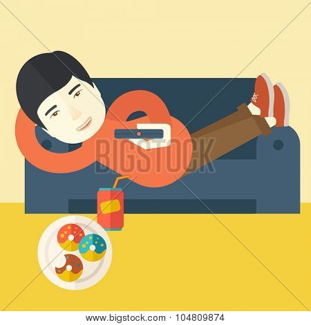 An asian man lying on a sofa holding a remote with three donuts on the plate and soda on the floor vector flat design illustration. Square layout.